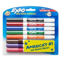 EXPO Low Odor Dry Erase Markers, Fine Tip, Assorted, 8 Count