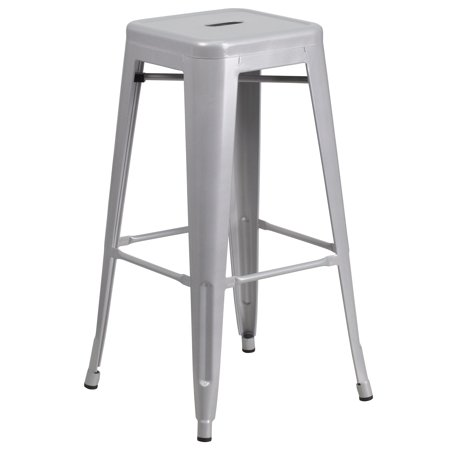 """30"""" Silver Contemporary Backless Industrial Outdoor Patio Barstool with Square Seat"""