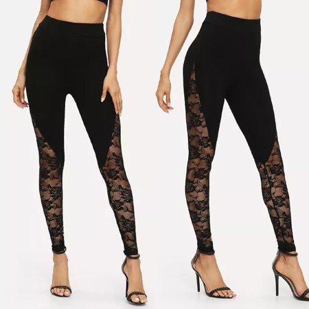 Tailored Women's Solid Color Sexy Lace Stitching Yoga Leggings Exercise Pants (Sexy Exercise)