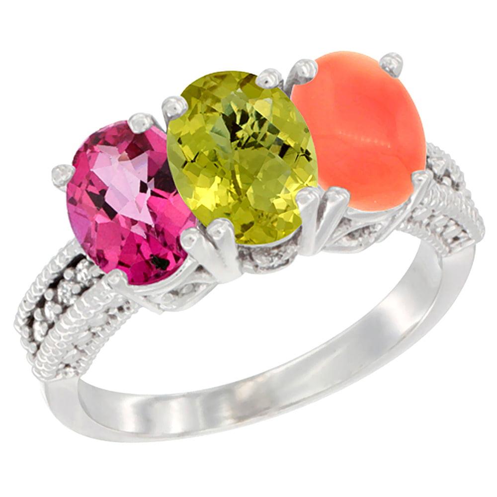 14K White Gold Natural Pink Topaz, Lemon Quartz & Coral Ring 3-Stone 7x5 mm Oval Diamond Accent, sizes 5 10 by WorldJewels