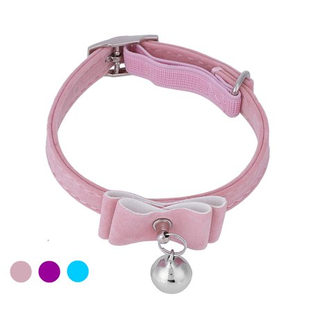 HURRISE Cute Flocking Puppy Cat Bell Adjustable Collar Kitten Dog Bow Tie Pet Neck Safety Bowtie, Small Pet Necklace Collar Pink Purple Blue