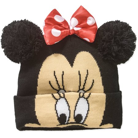 Women's Minnie Mouse Big Face With Pom Ears Beanie - Minnie Face