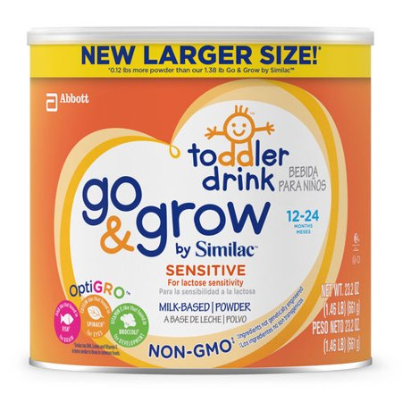 Image of Go & Grow by Similac Sensitive Non-GMO Milk Based Toddler Drink, For Lactose Sensitivity, Large Size Powder, 24oz