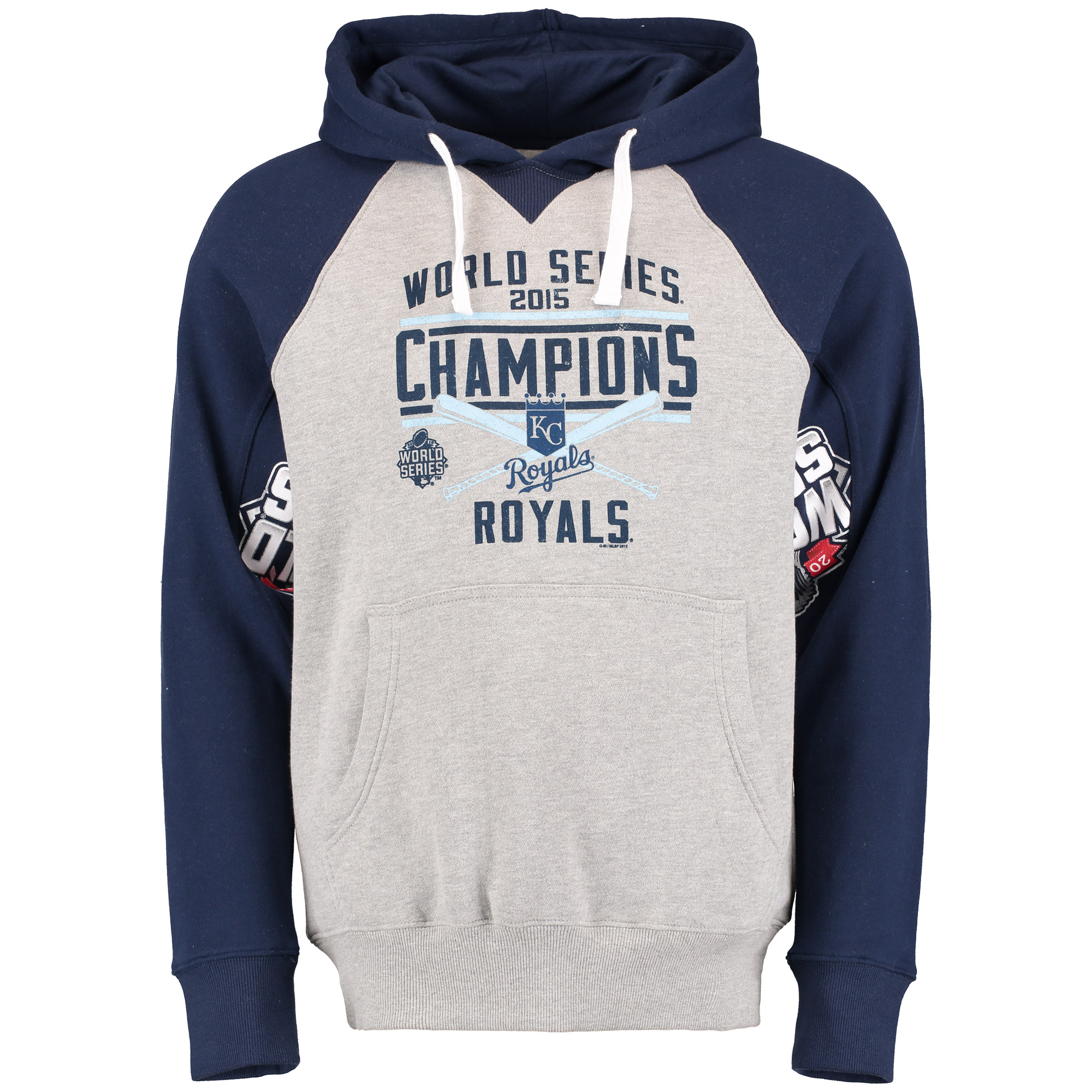 Kansas City Royals G-III Sports by Carl Banks 2015 World Series Motions Pullover Hoodie - Gray/Navy - S