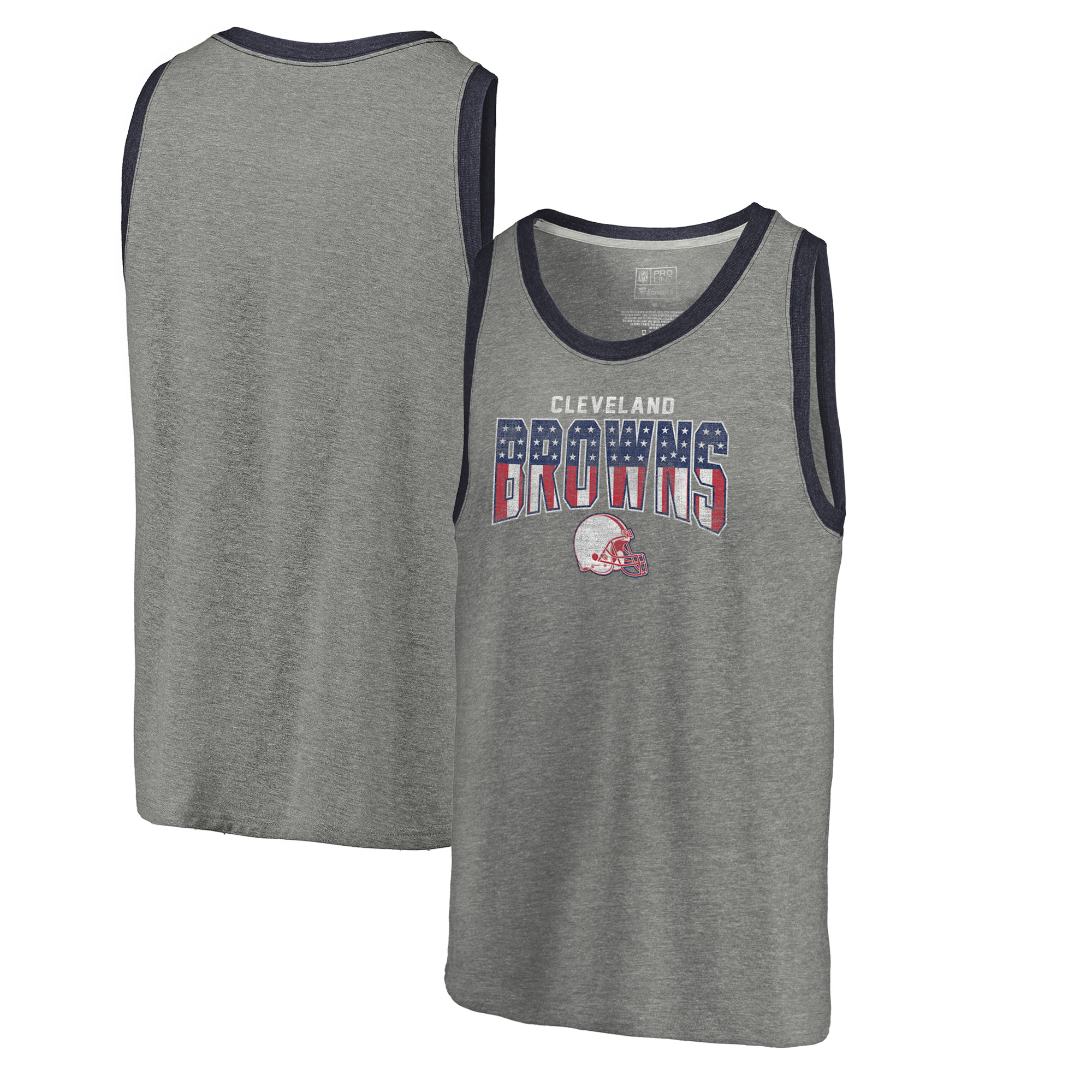 Cleveland Browns NFL Pro Line by Fanatics Branded Freedom Tri-Blend Tank Top - Heathered Gray