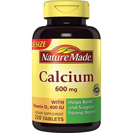 Calcium Carbonate Water - Nature Made Calcium (Carbonate) 600 mg w. D3 400 IU Tablets Mega Size 220 Ct