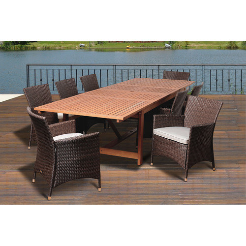 International Home Miami Gulper Eucalyptus 9 Piece Dining Set