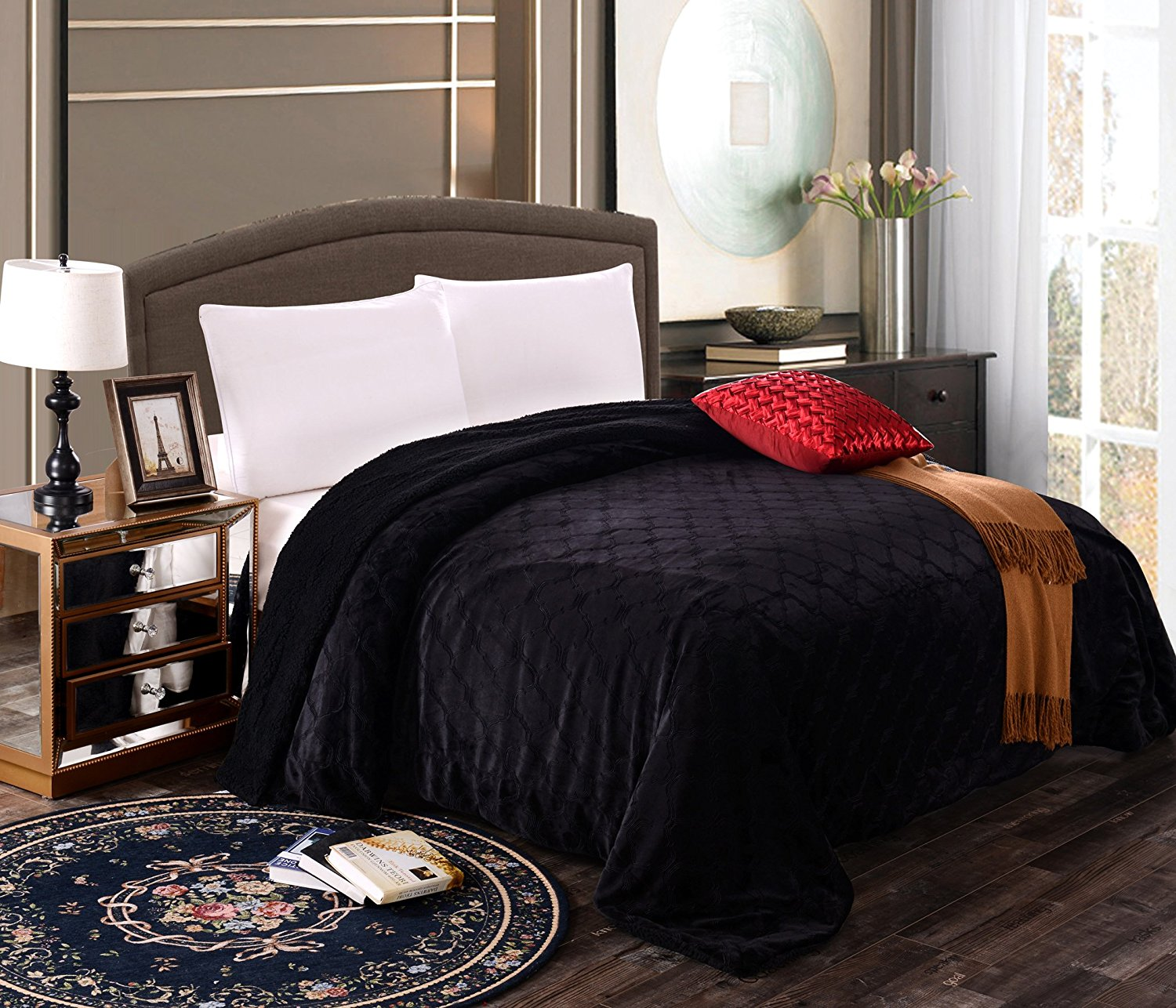 Fancy Collection Queen king Size Embossed Blanket Sumptuously Soft Plush Sollid Black with... by