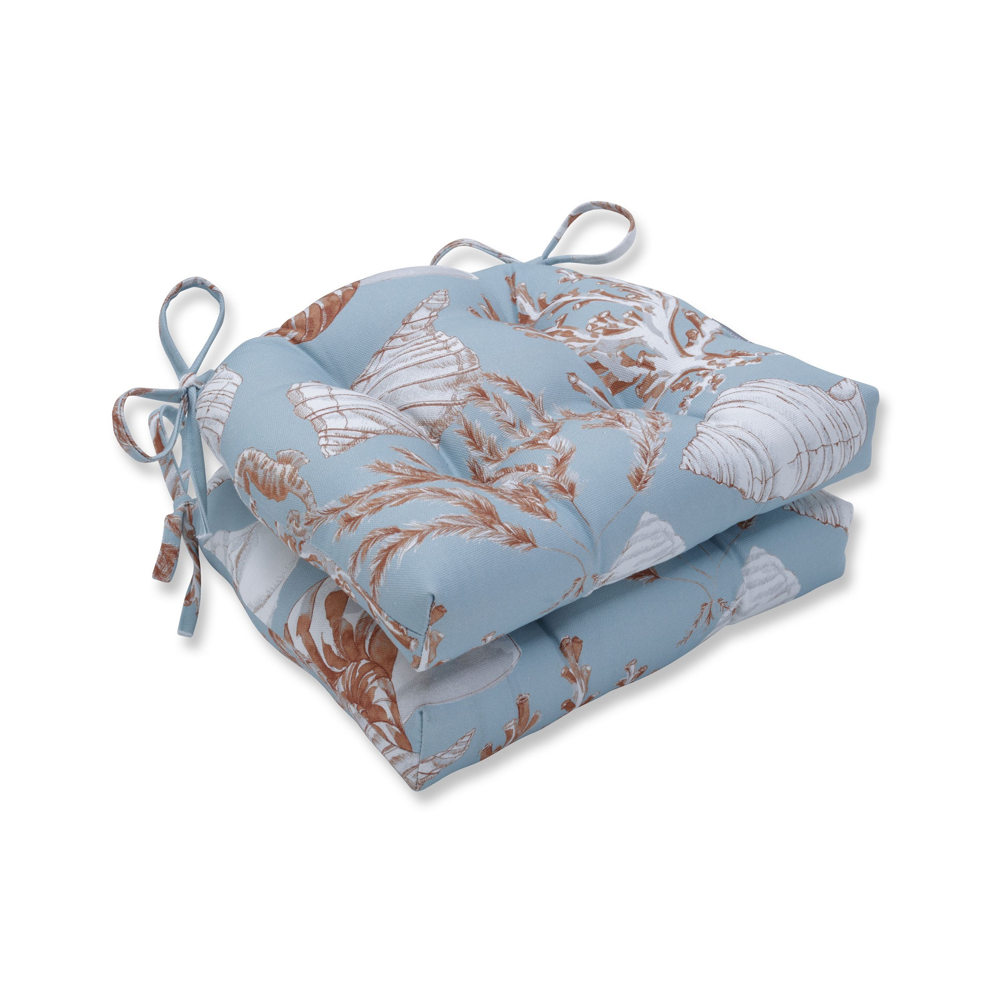 """Set of 2 Blue, Red, and White Reef Seascape Chair Cushions 16"""""""