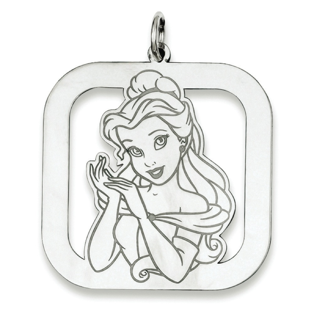925 Sterling Silver Square Disney Belle Charm Pendant - 31mm