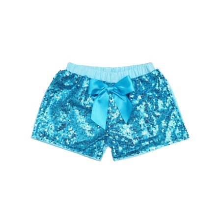 Cheap Sequin Shorts (Wenchoice Girls Blue Stretchy Waist Sequin Bow Adorned)