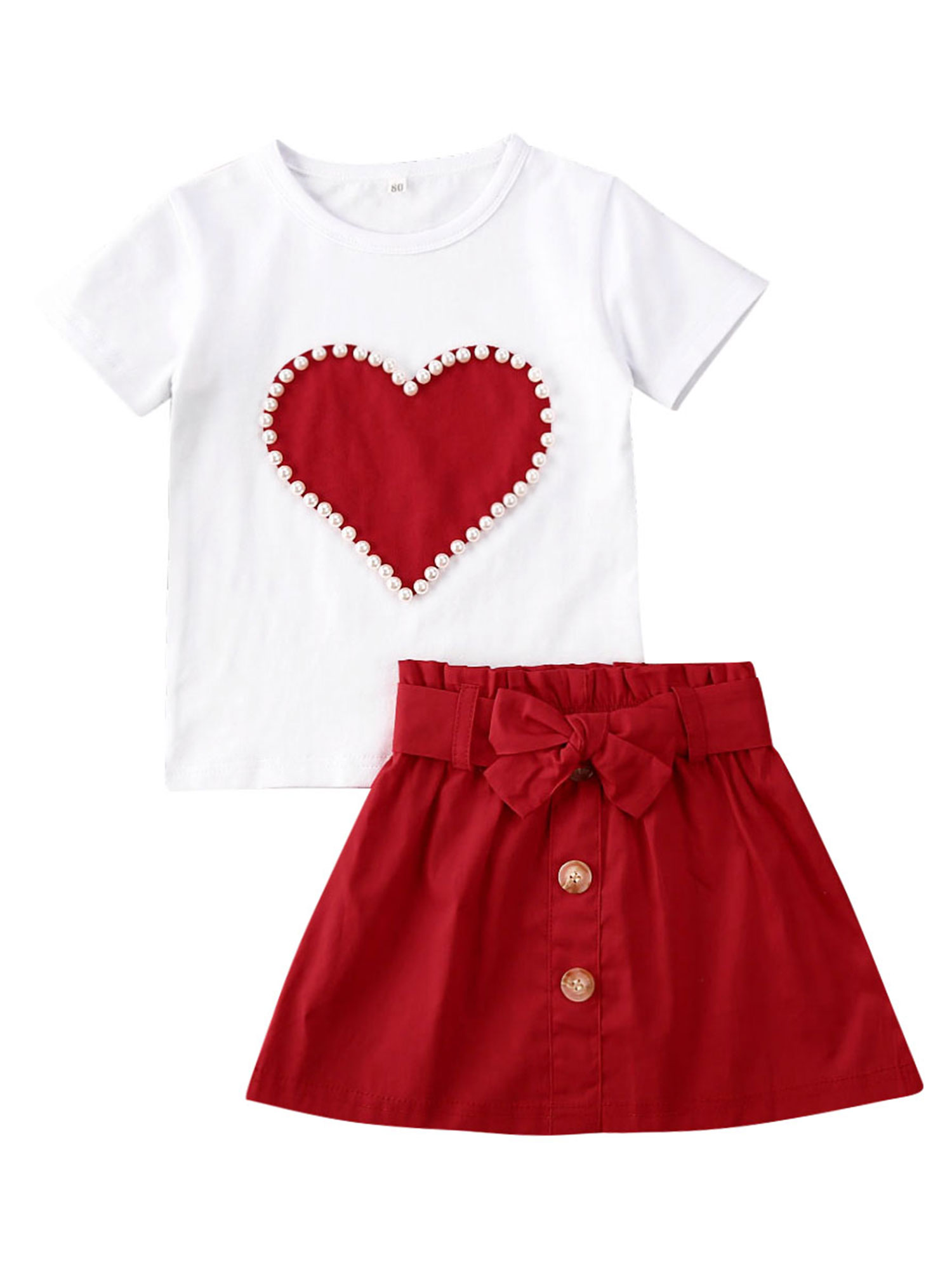Details about  /Toddler Baby Kids Girls Casual Fruit Print T-shirt Tops Solid Dress Clothes Set
