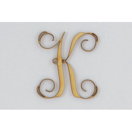 1 Pc, 4 Inch X 1/4 Inch Thick Wood Letters K In The Vine Font Great For Craft Project & Different Decor (Letter K Craft)