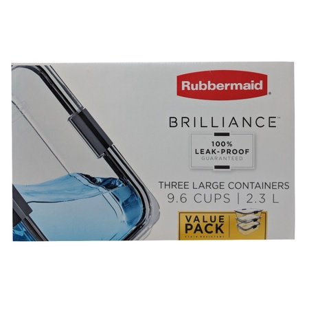 Rubbermaid Brilliance 100% Leak-Proof Three Large Containers 9.6 Cups 3 Pack ()