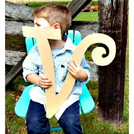 Wooden Curlz Letter V, 12'' Unfinished Wall Letter, Craft DIY Paintable