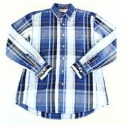 Club Room NEW Blue Mens Size Medium M Button Down Plaid Chest Pocket Shirt $55
