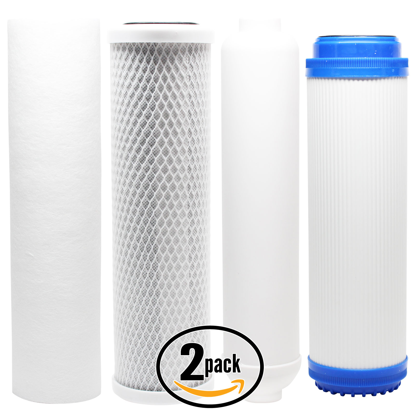 2-Pack Replacement Filter Kit for Topway Global (TGI) TGI-525 RO System - Includes Carbon Block Filter, PP Sediment Filter, GAC Filter & Inline Filter Cartridge - Denali Pure Brand