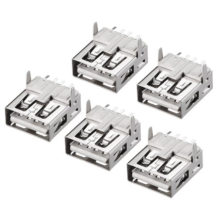PCB USB Connector A Type Female 90 Degree Front Insert SMT Flat Mouth 5Pcs - image 4 de 4