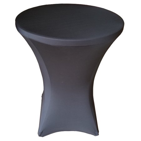 Banquet Tables Pro 32 x 43 Black Stretch Spandex Linen for Folding Bar Height Tables ()