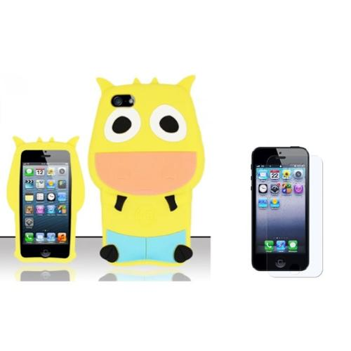 Insten Cow Rubber 3D Cover Case + Screen Protector For Apple iPhone SE 5/5S - Yellow