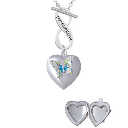 Lime Green & Hot Blue Butterfly Locket Today Tomorrow Infinity Toggle Chain Necklace