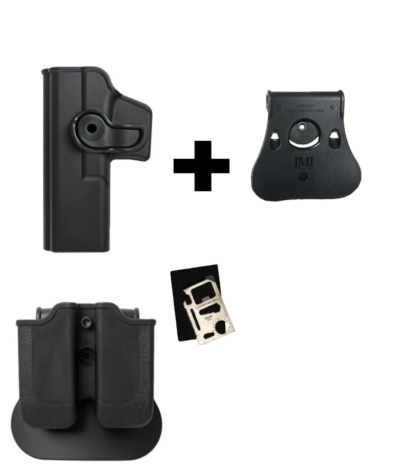 IMI Defense Z2000 MP00 Double Mag Holder & Paddle + Z1010LH 360� Rotate Holster Glock 17 22 28 31 34 Left Handed Gen 4... by