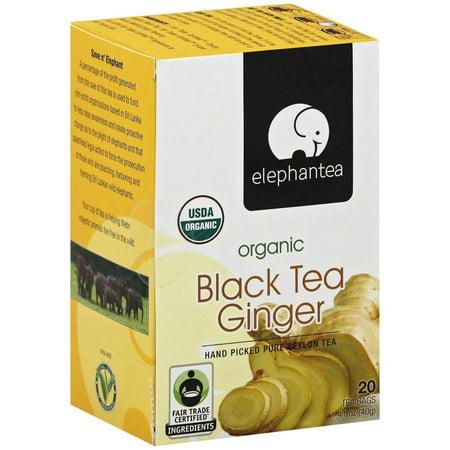 ELEPHANTEA Ginger Thé noir bio, 1,41 oz, (pack de 6)
