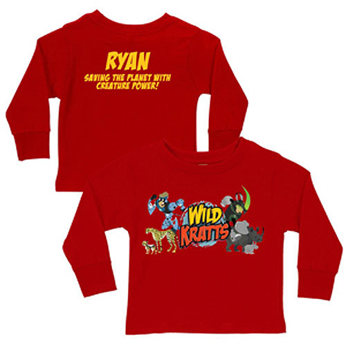 Personalized Wild Kratts Creature Adventure Boys' Red Long-Sleeve Shirt