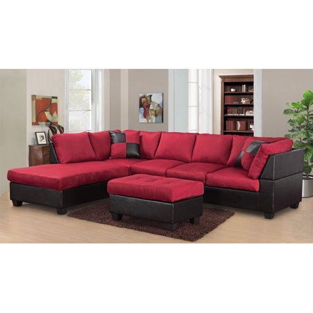 Modern Microfiber Sofa - Master Furniture Sectional Sofa Modern Fabric Microfiber Faux Leather Sectional Sofa 3Pc 6 Color