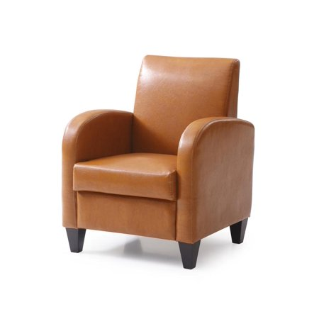 PU accent chair with solid wood legs and frames, Mocha (Dark Mocha Wood Audio)