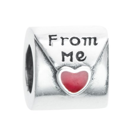 Queenberry Sterling Silver Red Enamel Love Letter From Me Bead Charm Fits Pandora