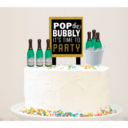 Alcohol Lovers Pop The Bubbly Sign with Champagne Bottles and Bucket Cake Decoration (Signed Buckle)