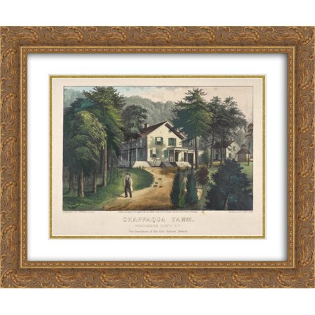 Currier and Ives 2x Matted 24x20 Gold Ornate Framed Art Print 'Chappaqua Farm, Westchester County, N.Y., The Residence of Hon. Horace (Best Places To Live In Westchester Ny)