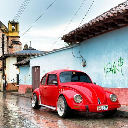 ¡Viva Mexico! Square Collection - Red VW Beetle Car in San Cristobal de Las Casas II Print Wall Art By Philippe Hugonnard - Decorar Casa De Halloween