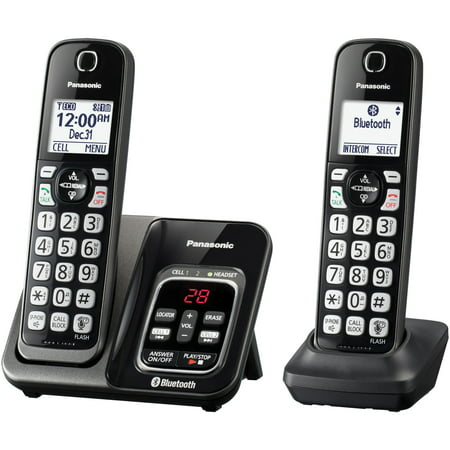 Panasonic KX-TGD562M Link2cell Bluetooth Cordless Phone With Answering Machine And Voice Assist, 2 Handsets