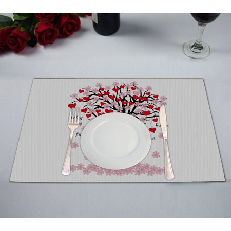 Valentino Spring (YKCG Spring Tree of Love Pink Red Valentine's Day Placemats Size 12x18 inches,Set of 2)