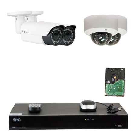 GW Security 8 Channel H.265 4K NVR 5-Megapixel (2592 x 1520) 4X Optical Zoom Network Plug & Play Security System, 4pcs 5MP 1920p 2.8-12mm Motorized Zoom POE Weatherproof Bullet & Dome IP Cameras