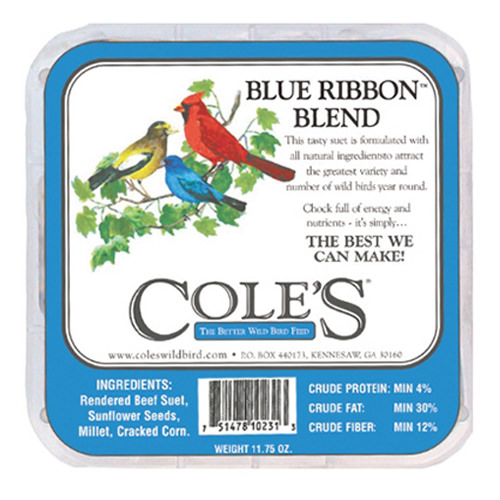COLES WILD BIRD PRODUCTS INC BRSU 12OZ Blue Ribb Bend Suet