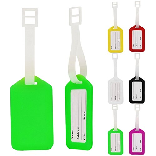 Ikevan Hot Selling 10pcs Travel Suitcase Luggage Tags ID Address Holder Plastic Colorful Identifier Label