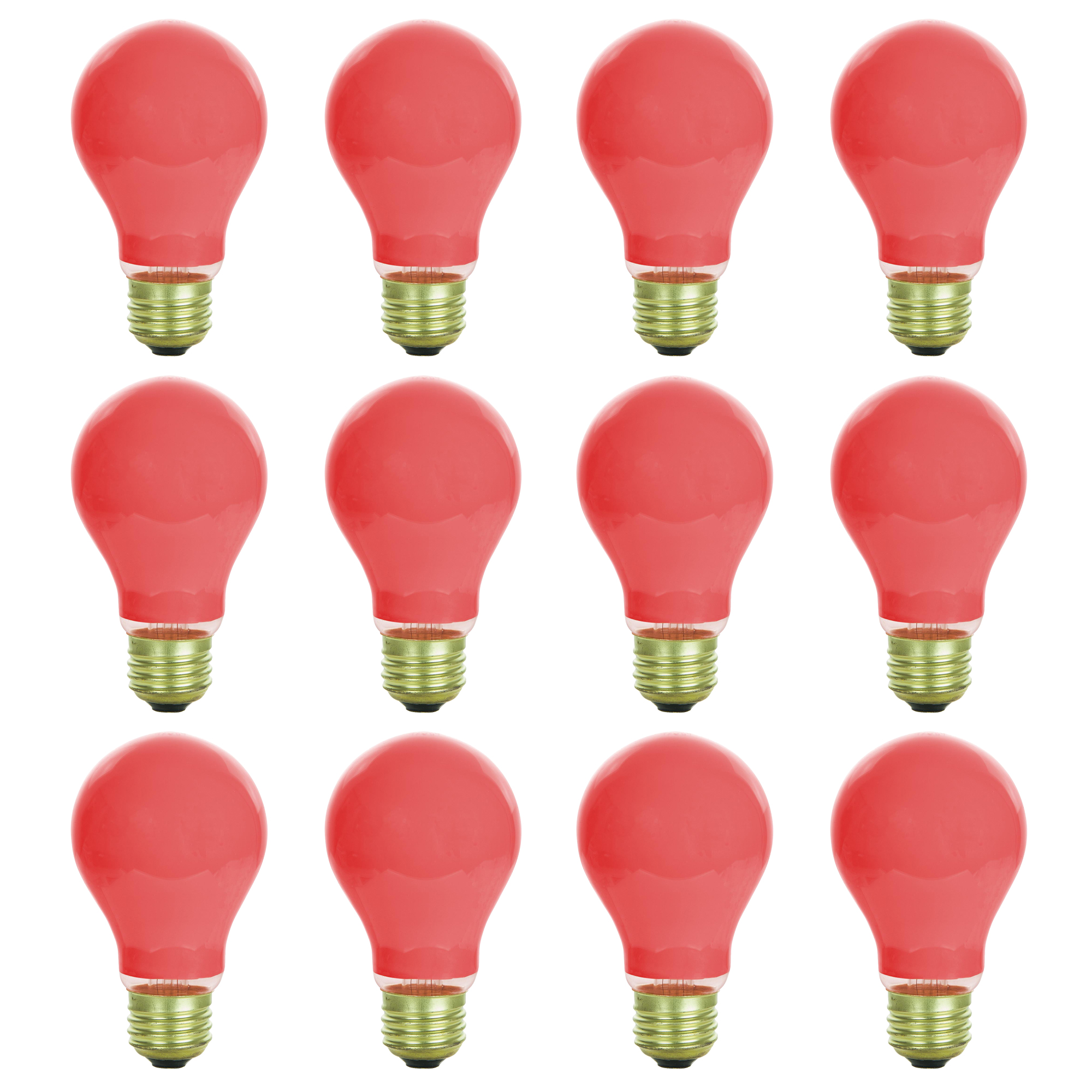 12 Pack of Sunlite 60 watt Ceramic Red Colored Incandescent Light Bulb - Parties, Decorative, and Holiday 1,250 Average Life Hours