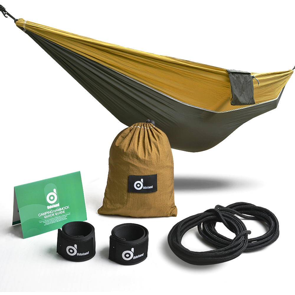 Single Hammock Lightweight Nylon Hammock w/ Straps Steel Carabiners & Carry Bag for Camping Beach Yard