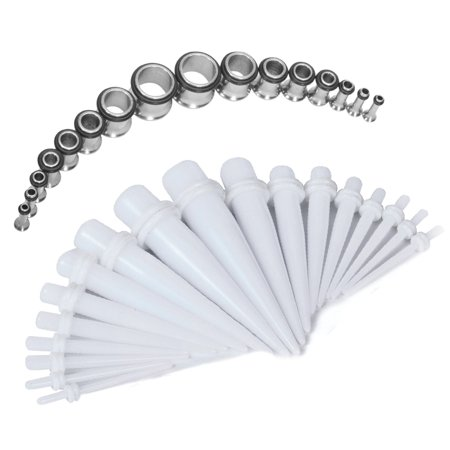 BodyJ4You Gauges Kit White Acrylic Taper Stainless Steel Tunnels 12G-00G Stretching Set 32PCS