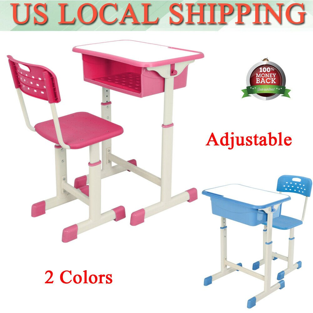 Height Adjustable Student Desk and Chair Kit Child Student