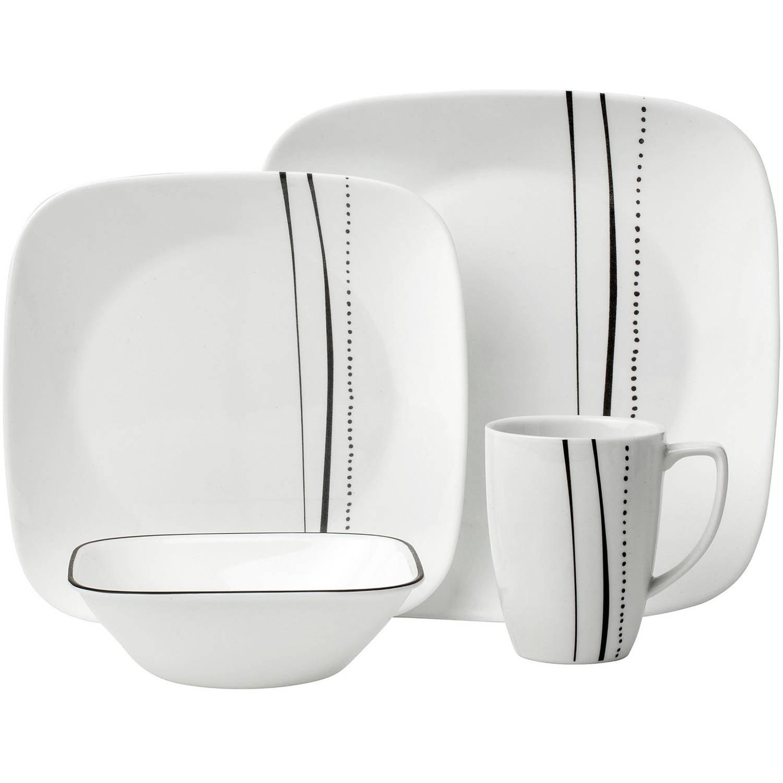 Corelle Square 16-Piece Dinnerware Set, Cascading Lines