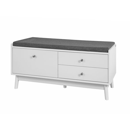 Haotian Fsr56 W White Storage Bench With 3 Drawers Padded Seat Cushion