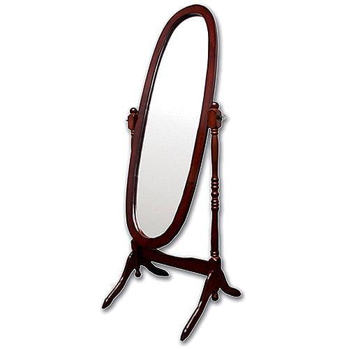 ORE International Wooden Cheval Floor Mirror, Cherry