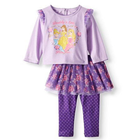 Ruffle Sleeve Long Sleeve Top & Skeggings, 2-Piece Outfit Set (Baby Girls) - Princess Jasmine Inspired Outfit