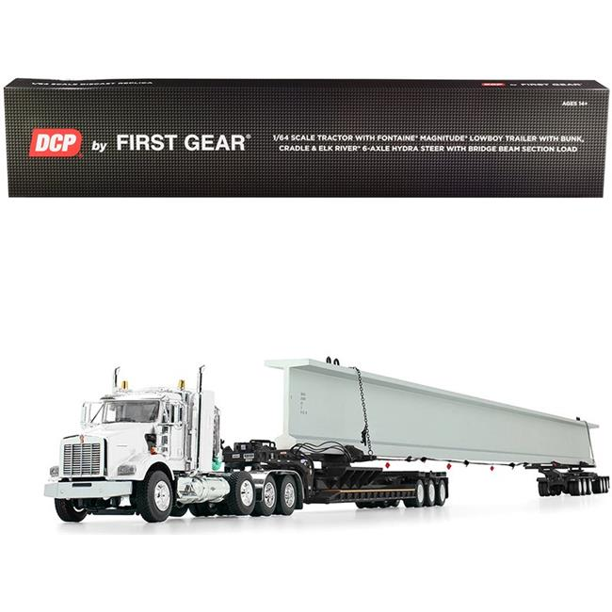"First Gear 60-0742 KENWORTH WHITE//BLACK T800 38/""SLEEPER,LOWBOYW//BRIDGE BEAM"