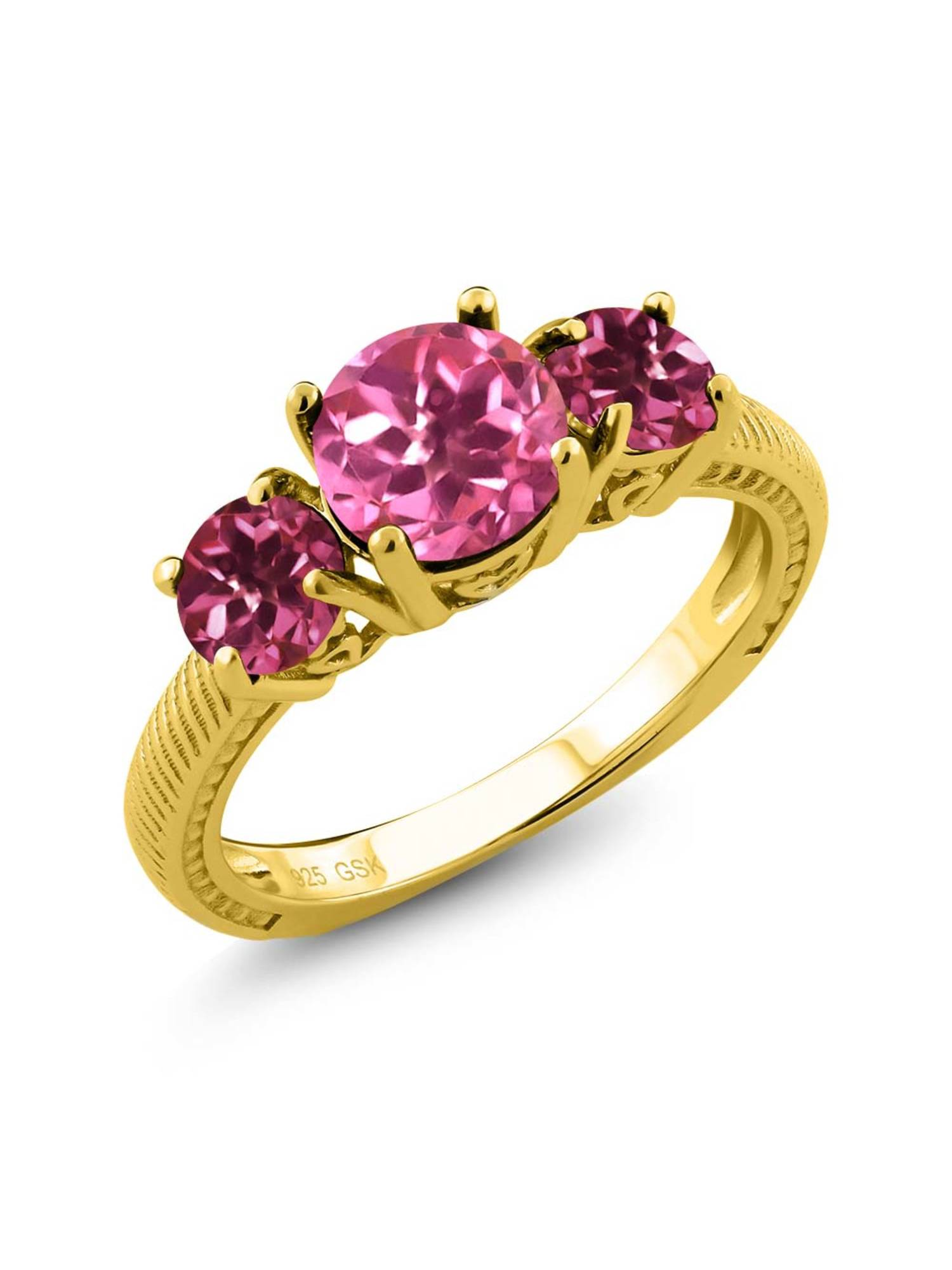 2.30 Ct Pink Mystic Topaz Pink Tourmaline 18K Yellow Gold Plated Silver 3 Stone Ring by