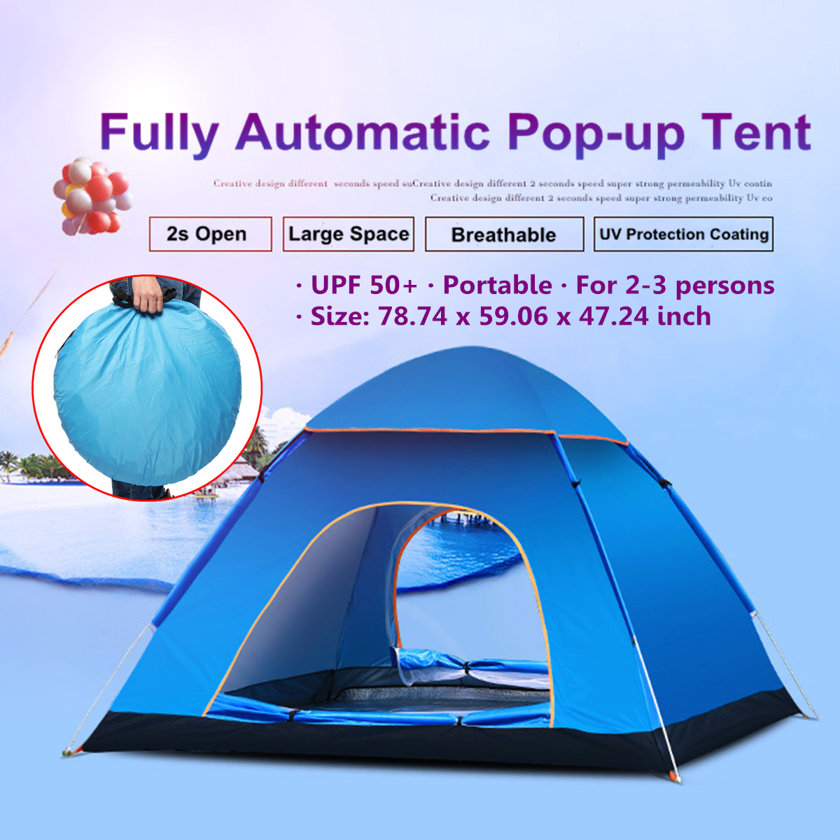 2-3 Person Beach Tent UV Protection Automatic C&ing Hiking Instant Cabin Tent Quick Open & 2-3 Person Beach Tent UV Protection Automatic Camping Hiking ...
